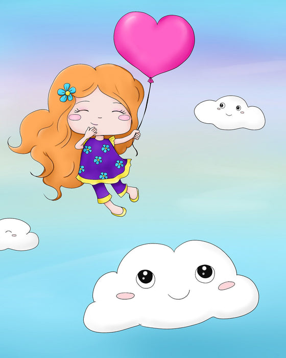 This is a photo of a Cute Girl in the Clouds with a heart balloon