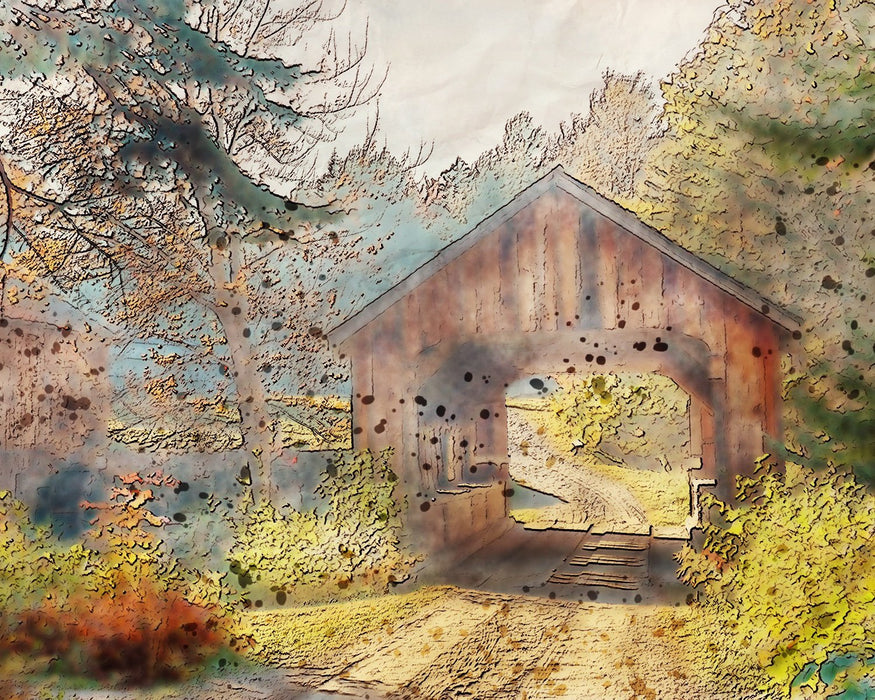 Watercolor Covered Bridge