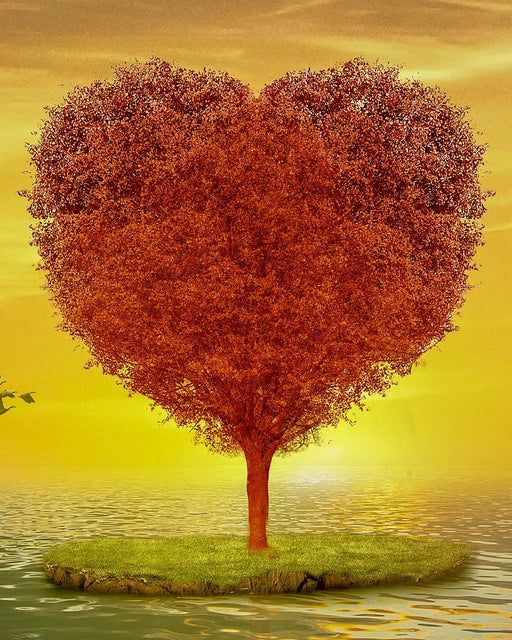This is a photo of an autumn heart shaped tree
