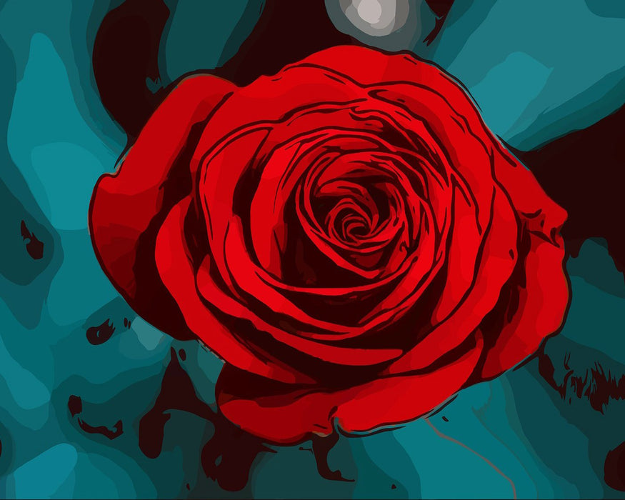 This is a photo of a drawing of a red rose on a blue and black background.