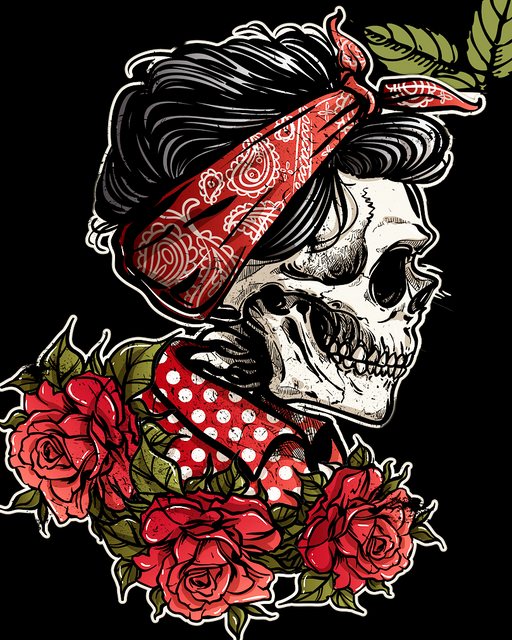 This is a photo of a female skull with red roses and red bandana