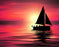 This is a photo of a silhouette of a boat in the sea on a pink sunset sky.