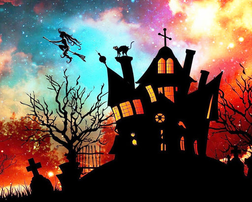 This is a photo of a silhouette of a haunted house and a flying witch on a broom in a galaxy like sky.