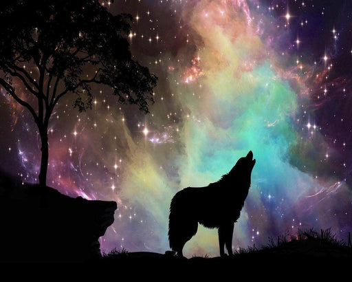 This is a silhouette photo of a a wolf howling on a starry night