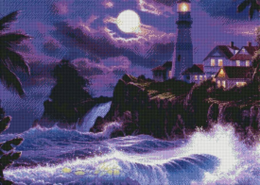 Night Lighthouse (SQUARE Diamonds) - Shimmer Stitch