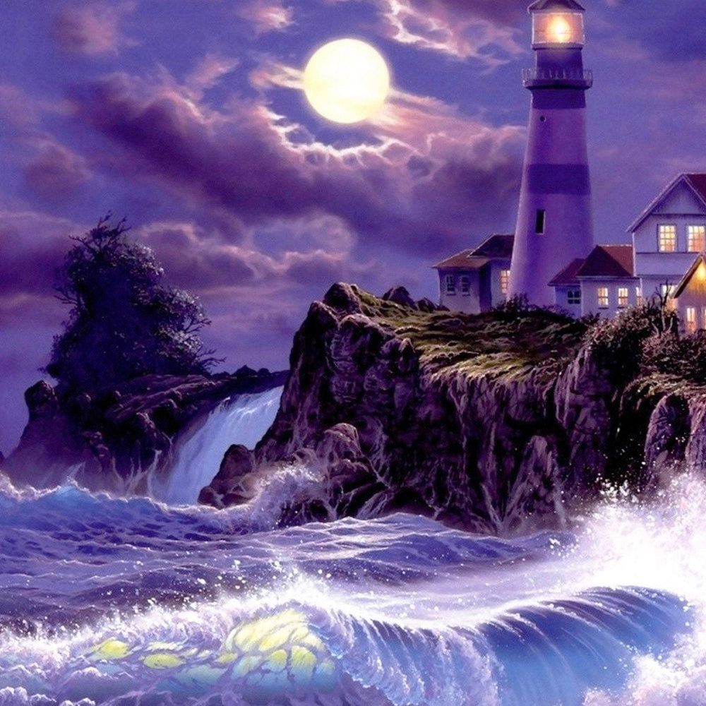 This is a photo of a lighthouse by the cliff at night with purple skies and a fill moon.