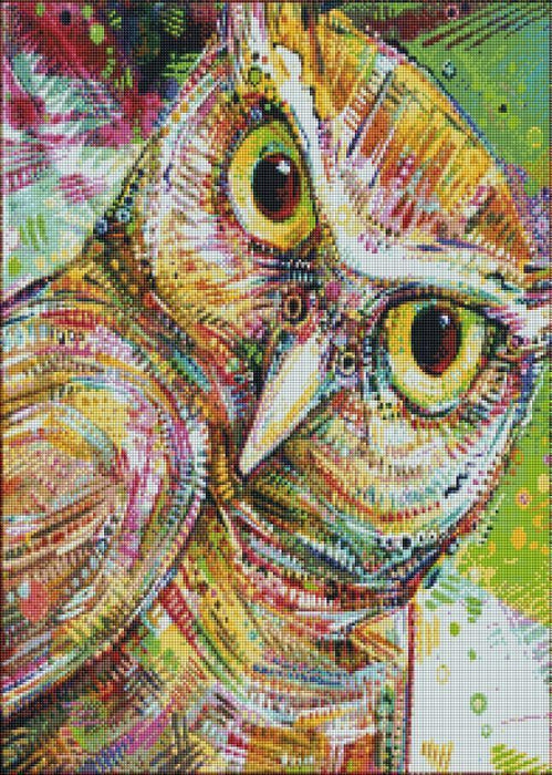 Painted Owl (SQUARE Diamonds) - Shimmer Stitch