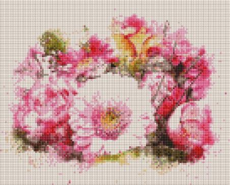 Pink Painted Flowers (SQUARE Diamonds) - Shimmer Stitch