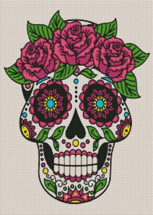 Pink Sugar Skull (SQUARE Diamonds) - Shimmer Stitch