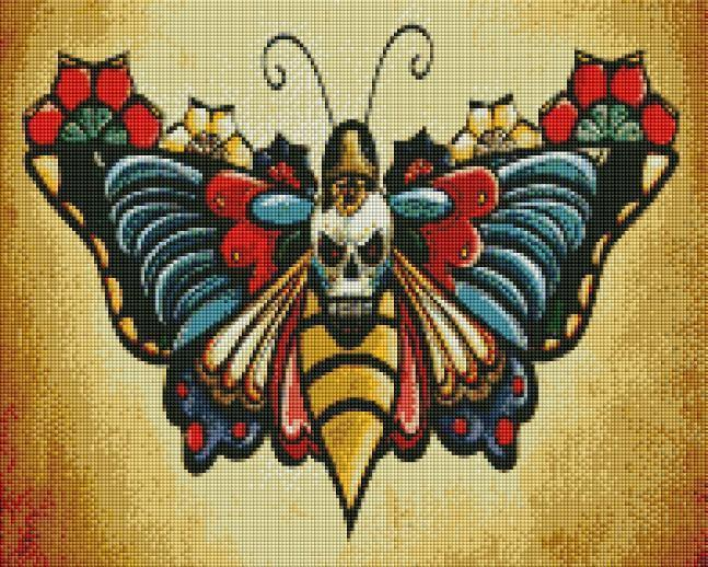 Skull Butterfly (SQUARE Diamonds) - Shimmer Stitch