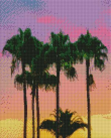Sunset Palms (SQUARE Diamonds) - Shimmer Stitch