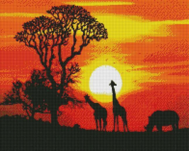 Sunset Safari (SQUARE Diamonds) - Shimmer Stitch