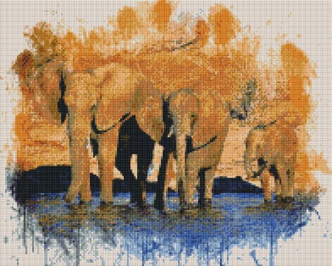 Three Elephants (SQUARE Diamonds) - Shimmer Stitch