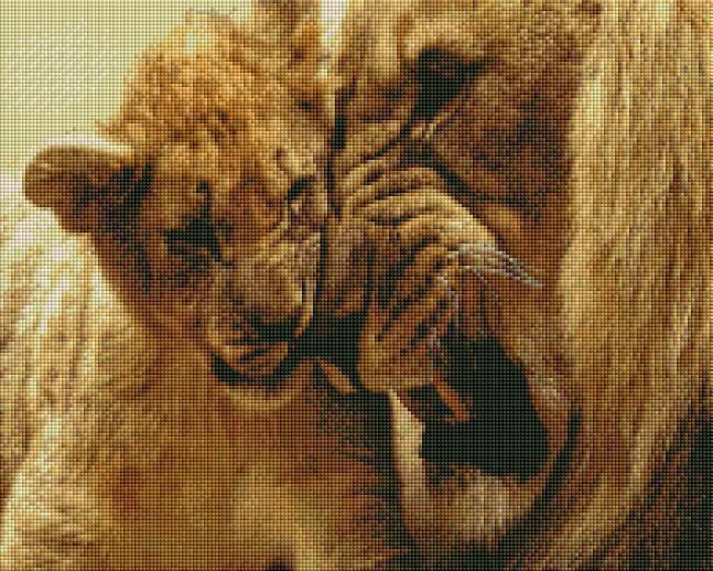 Two Lions (SQUARE Diamonds) - Shimmer Stitch