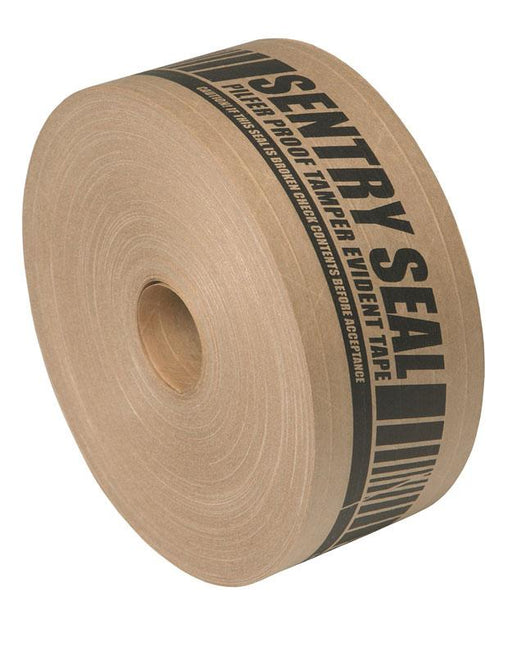 6 x 70mm x 152m 'Sentry Seal' Reinforced Printed Gummed Paper Tape - in stock Reinforced Gummed Paper Tape