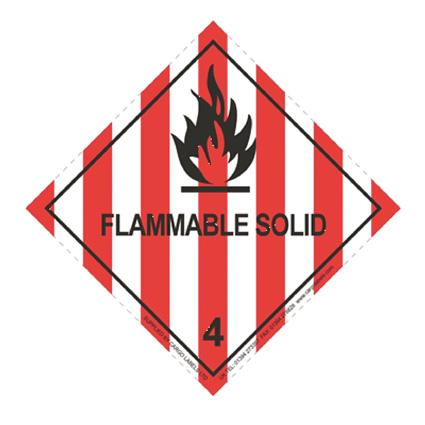 FLAMMABLE SOLID Hazard Warning Label - in stock Hazard Warning Labels