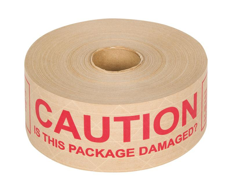6 x 70mm x 150m 'Caution Is This Packaging Damaged' Reinforced Printed Gummed Paper Tape - in stock Reinforced Gummed Paper Tape