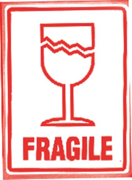 500 x Fragile With Wine Glass Printed Warning Labels 108mm x 7 mm