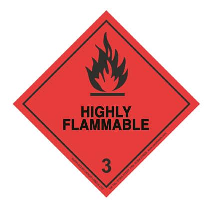 HIGHLY FLAMMABLE Hazard Warning Label - in stock Hazard Warning Labels