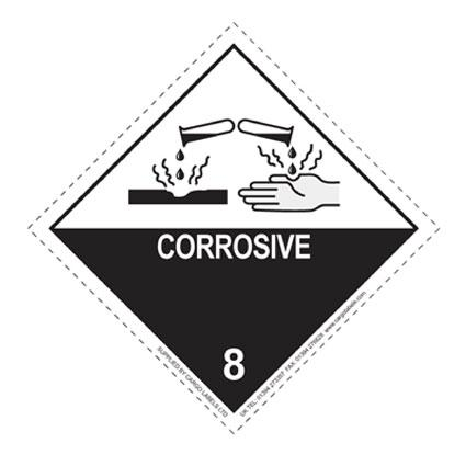 CORROSIVE Hazard Warning Label - in stock Hazard Warning Labels