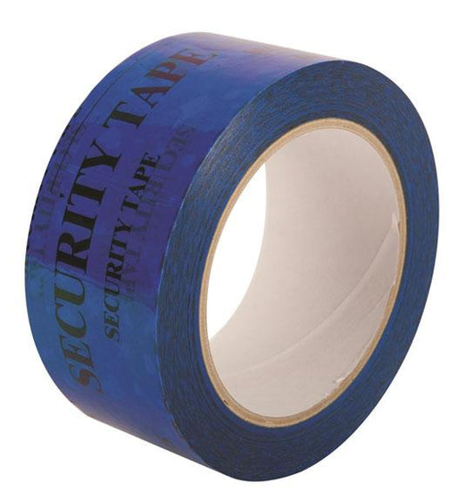 48 mm wide Blue Tegracheck OPEN VOID Security Tape - in stock Printed Message Tapes