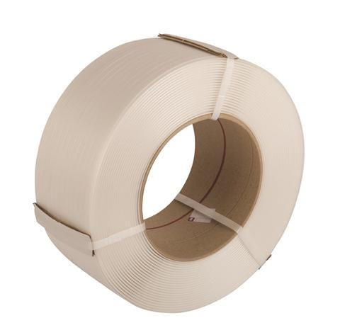 White 12mm x  0.55mm Machine Strapping with Larger Core 2,500m. 145kg Break Strain. 2 Roll Pack