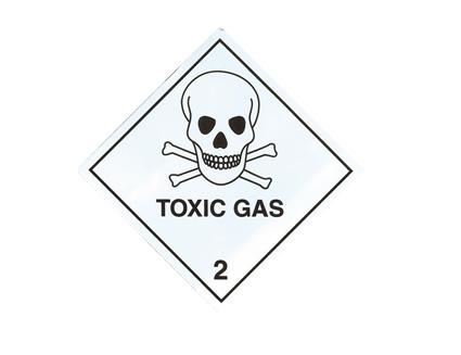 Toxic Gas Hazard Warning Sticker 100 mm x 100 mm