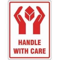 500 x Handle With Care Printed Warning Labels 108mm x 79mm - in stock Parcel Labels