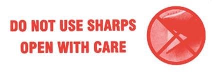 500 x Do Not Use Sharps Printed Labels On A Roll 148 mm x 50 mm