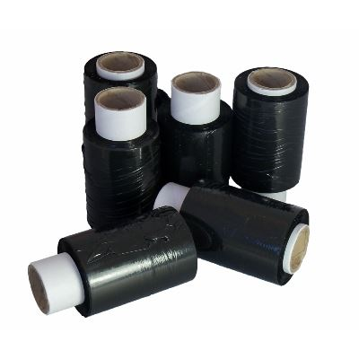 Black Mini Handy Stretch Cling Film 36 x 17mu 100mm x 150m Pacplus