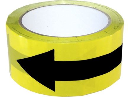 6 X Yellow Social Distance Directional Floor Marking Tape 50 mm x 33m