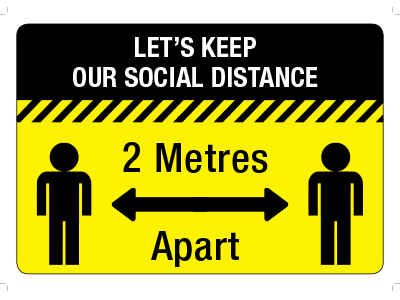 5 x Social Distancing 2 Meters Apart Premium Floor Stickers Anti-Slip 400 mm x 300 mm