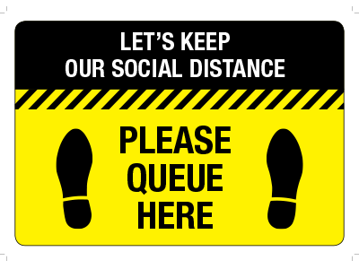 Social distancing PLEASE QUEUE HERE Floor Stickers Self Adhesive Anti-Slip 400 x 300