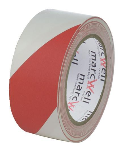 Red/White Social Distancing Floor Marking Tape 6 Rolls Marcwell 50mm x 33m