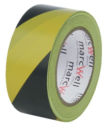 Yellow/Black Social Distancing Floor Marking Tape 6 Rolls Marcwell 50mm x 33m