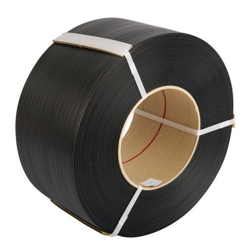 Black 12mm x 0.55mm Machine Strapping 3,000m. 145kg Break Strain. 2 Roll Pack - in stock Strapping Reels & Rolls