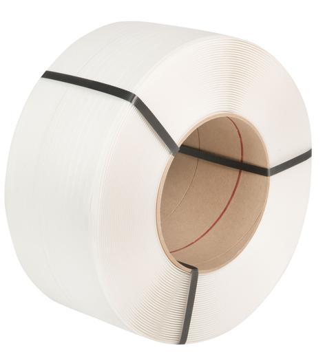 White 12mm x 0.63mm Machine Strapping 3,000m. 170kg Break Strain. 2 Roll Pack