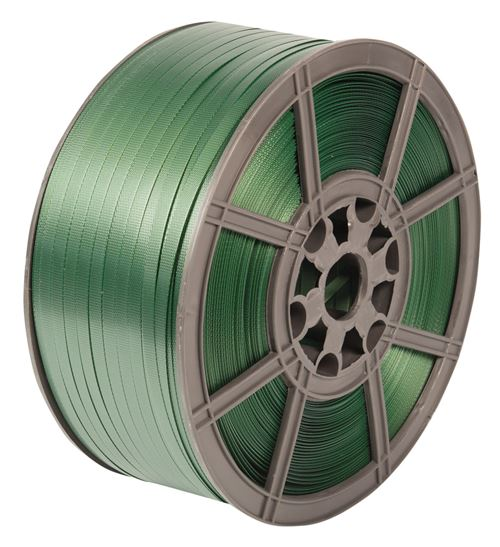 Green Embossed Extruded PET Strapping 12.5mm x 0.55mm x 1600mtr. 270kg Break Strain