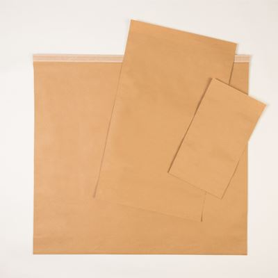 ECO Paper Mailing Bag with SGL Peel, 380 x 80 x 480mm + 30mm lip, 95gsm