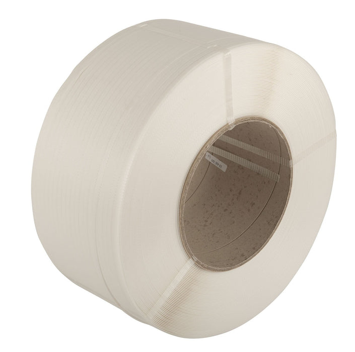 Extruded polypropylene Hand strapping White 12 x 0.55mm 130Kg Loading