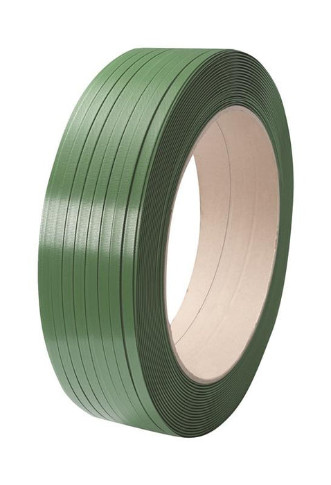 Green Embossed PET Strapping 15.5mm x 0.7mm x 1750mtr. 440kg Break Strain - in stock Strapping Reels & Rolls