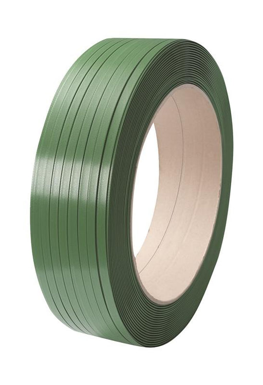 Green Embossed PET Strapping 15.5mm x 0.9mm x 1500mtr. 560kg Break Strain - in stock Strapping Reels & Rolls