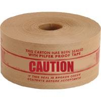 6 x 70 x 150m 'Important Caution' Reinforced Printed Gummed Paper Tape - in stock Reinforced Gummed Paper Tape