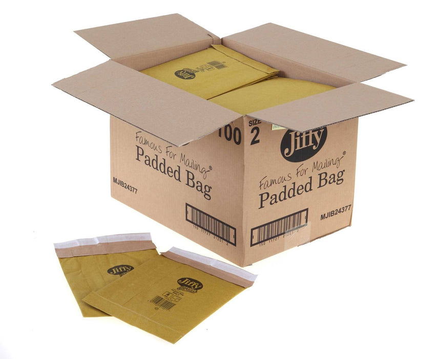 100 Jiffy Original Padded Postal Bag 196 x 280 Size PB2 - in stock Jiffy Padded Bags
