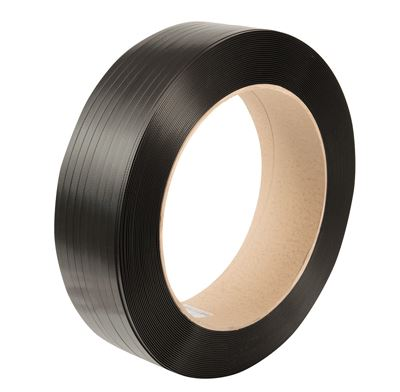 Black Embossed PET Strapping,  15.5mm x 0.85mm x 1500mtr. 550kg Break Strain