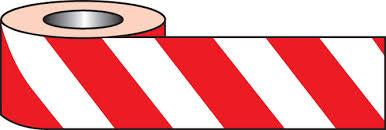 70mm x 500m Red/White Barrier And Area Cordon Tape - in stock Barrier Tapes