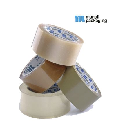 36 x Manuli Solvent Clear And Brown 48mm x 66m Packaging Tape