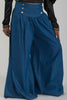 Image of YOKE WAIST BUTTON DETAIL CHAMBRAY PALAZZO PANTS