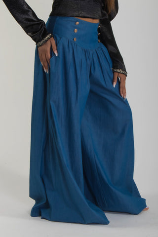 YOKE WAIST BUTTON DETAIL CHAMBRAY PALAZZO PANTS