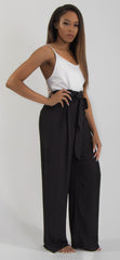 SLEEVELESS PAPERBAG WAIST JUMPSUIT-Black